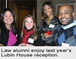 Law alumni enjoy last year's Lubin House reception.